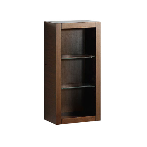 Fresca Wenge Brown Wall Mounted Bathroom Storage Side Cabinet with 2 Glass Shelves
