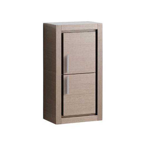 Fresca Gray Oak Wall Mounted Bathroom Storage Side Cabinet with 2 Doors