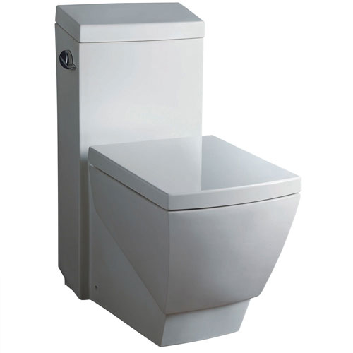 Fresca Apus White Modern One Piece Square Toilet with Soft Close Toilet Seat