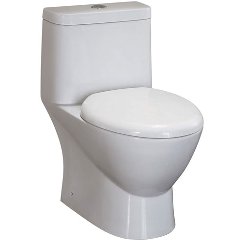 Fresca Serena White Modern One Piece Dual Flush Toilet with Soft Close Toilet Seat