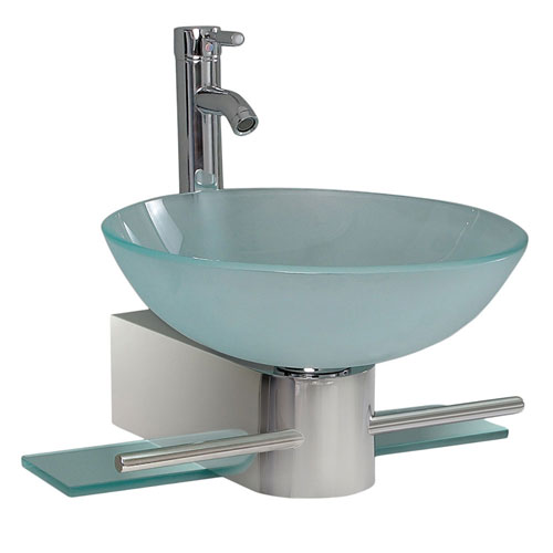 Fresca Cristallino Modern Glass Bathroom Vanity with Frosted Vessel Sink & Faucet