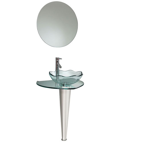 Fresca Netto Modern Glass Bathroom Vanity with Wavy Vessel Sink, Mirror, & Faucet