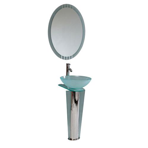 Fresca Vitale Modern Glass Bathroom Vanity with Vessel Sink, Mirror, & Faucet