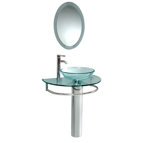 Fresca Attrazione Modern Glass Bathroom Vanity with Vessel Sink, Mirror, & Faucet