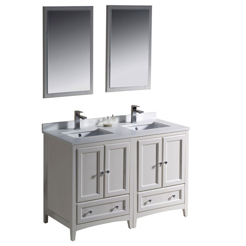 Fresca Oxford 48 Antique White Double Sink Bathroom Vanity W Mirrors Faucets Ebay