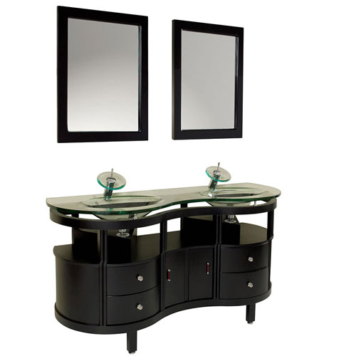 Fresca Unico Espresso Double Sink Modern Bathroom Vanity with Mirrors & Faucets