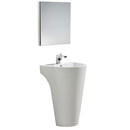 Fresca Parma White Pedestal Sink Bathroom Vanity with Medicine Cabinet & Faucet