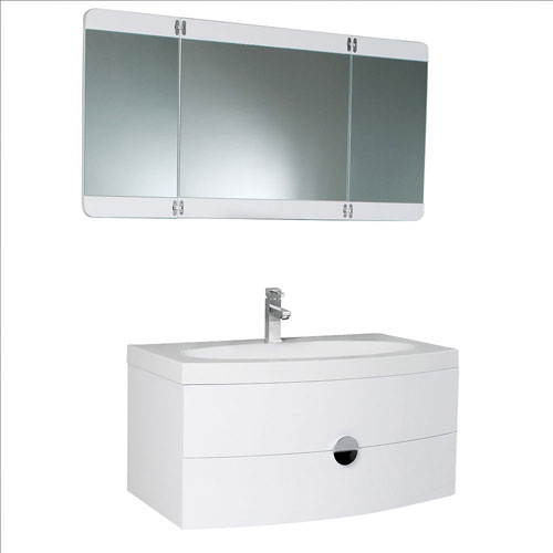 Fresca Energia White Bathroom Vanity with Three Panel Folding Mirror & Faucet