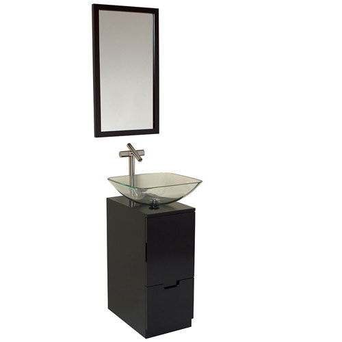 Fresca Brilliante Espresso Small Modern Bathroom Vanity with Mirror & Faucet