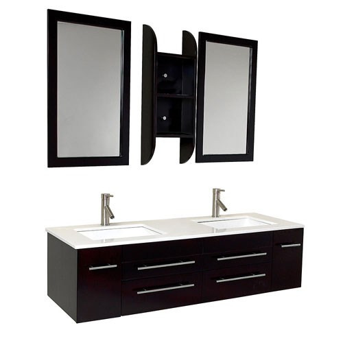 Fresca Bellezza Espresso Modern Double Sink Bathroom Vanity, Mirrors & Faucets