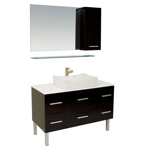 Fresca Distante Modern Bathroom Vanity with Mirror, Side Cabinet, & Faucet