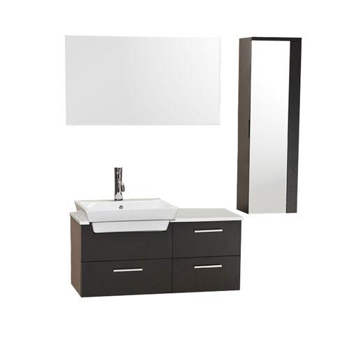 Fresca Caro Espresso Bathroom Vanity with Mirrored Side Cabinet, Mirror, & Faucet