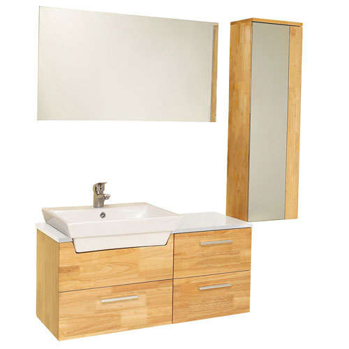 Fresca Caro Natural Wood Bathroom Vanity with Mirror Cabinet, Mirror, & Faucet