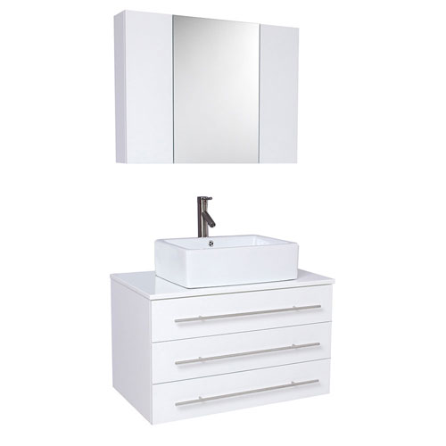 Fresca White Bathroom Vanity with Marble Counter, Medicine Cabinet, & Faucet