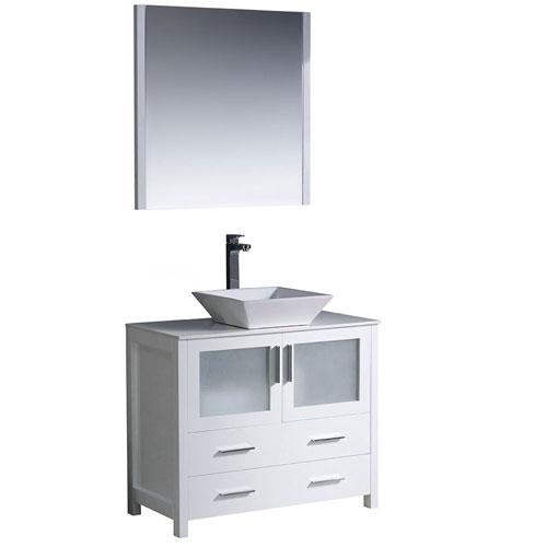 Fresca Torino 36 White Small Vessel Sink Bathroom Vanity