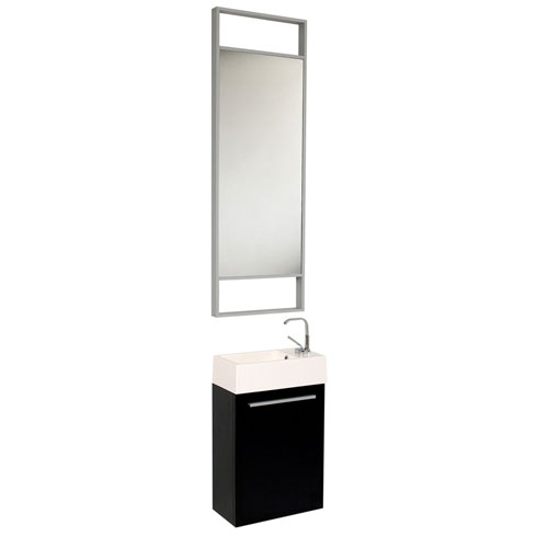 Fresca Pulito Small Wall Mounted Black Bathroom Vanity with Tall Mirror & Faucet