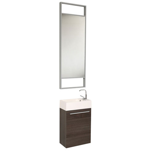 Fresca Pulito Small Wall Mount Gray Oak Bathroom Vanity with Tall Mirror & Faucet