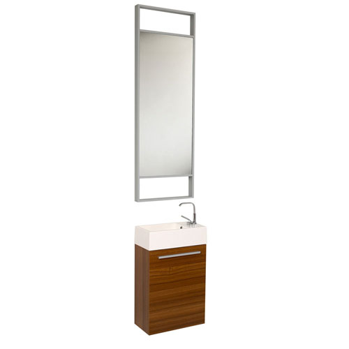 Fresca Pulito Small Wall Mount Teak Bathroom Vanity with Tall Mirror & Faucet