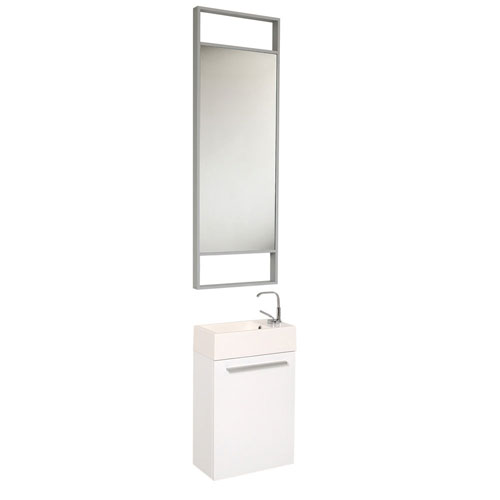 Fresca Pulito Small Wall Mount White Bathroom Vanity with Tall Mirror & Faucet