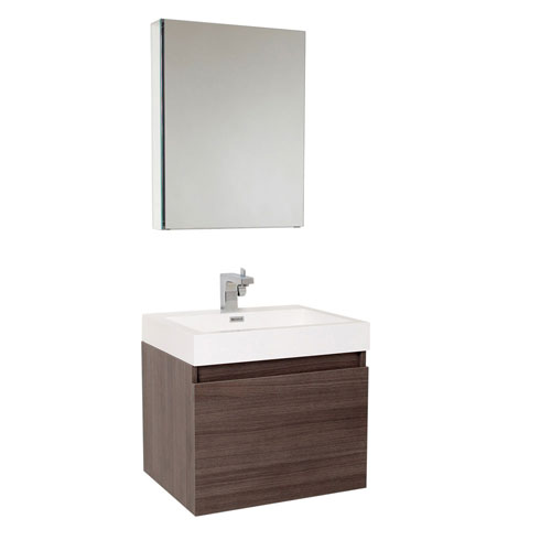 Fresca Nano Small Wall Mount Grey Oak Bathroom Vanity Medicine Cabinet