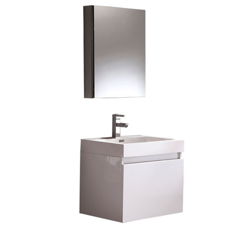 Fresca Nano Small Wall Mount White Bathroom Vanity with Medicine Cabinet & Faucet