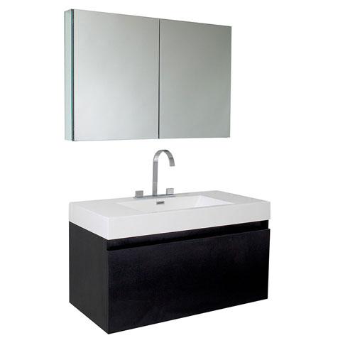 Fresca Mezzo Black Wall Mounted Bathroom Vanity with Medicine Cabinet & Faucet