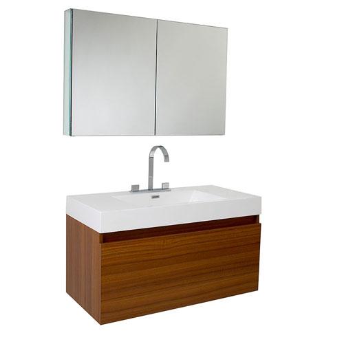 Fresca Mezzo Teak Wall Mounted Bathroom Vanity with Medicine Cabinet & Faucet