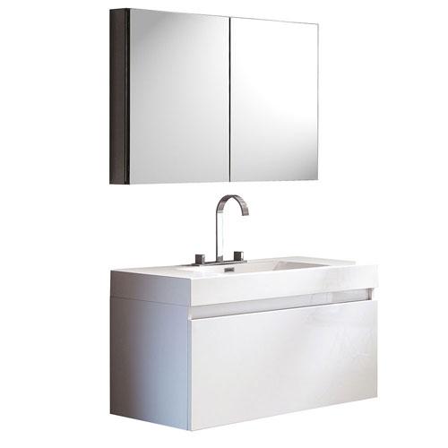Fresca Mezzo White Wall Mounted Bathroom Vanity with Medicine Cabinet & Faucet