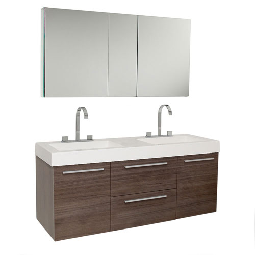 Fresca Gray Oak Modern Double Sink Bathroom Vanity with Medicine Cabinet & Faucets