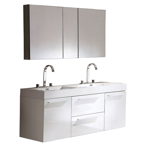 Beau Fresca Opulento White Modern Double Sink Bathroom Vanity With Large  Mirrored Medicine Cabinet And 2 Faucets