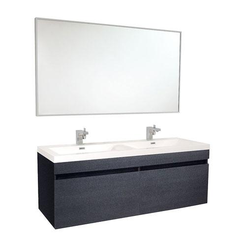 Fresca Largo Black Wavy Double Sink Modern Bathroom Vanity with Mirror & Faucets