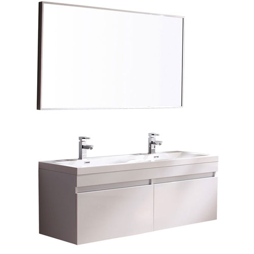 Fresca Largo White Wavy Double Sink Modern Bathroom Vanity with Mirror & Faucets