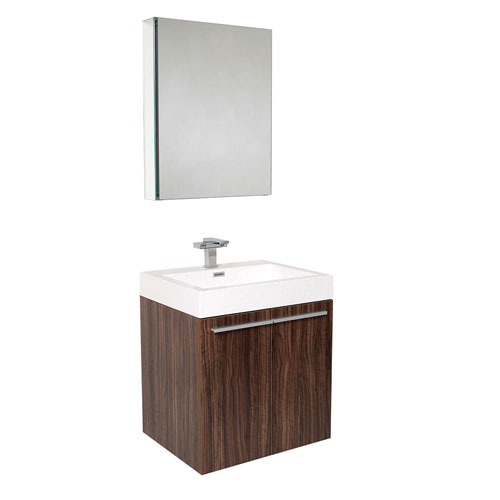 Fresca Alto Walnut Wall Mounted Bathroom Vanity with Medicine Cabinet & Faucet
