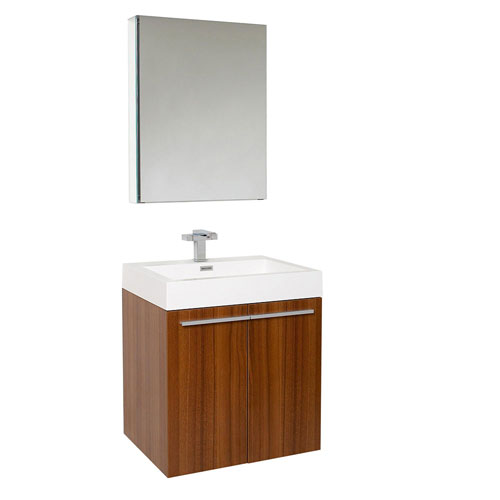 Fresca Alto Teak Wall Mounted Bathroom Vanity with Medicine Cabinet & Faucet