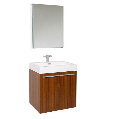 Fresca Alto Teak Wall Mounted Bathroom Vanity with Medicine Cabinet & Faucet