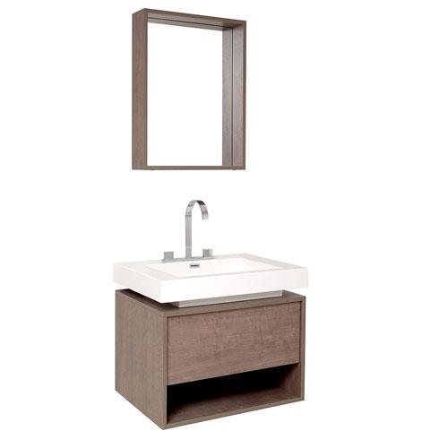 Fresca Potenza Gray Oak Small Bathroom Vanity w/Pop-Open Drawer, Mirror & Faucet