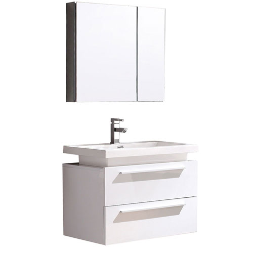 Fresca Medio White Small Wall Mount Bathroom Vanity with Medicine Cabinet & Faucet