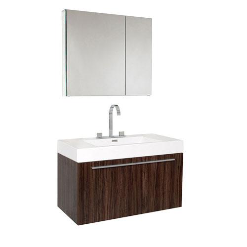 Fresca Vista Walnut Wall Mounted Bathroom Vanity with Medicine Cabinet & Faucet