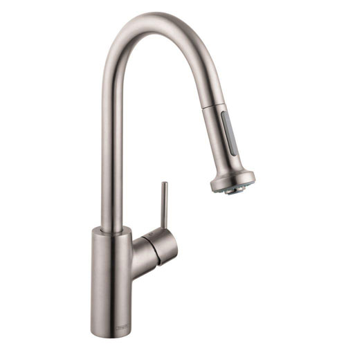 HansGrohe Talis S Single-Handle Pull-Down Sprayer Kitchen Faucet in Steel Optik with Magnetic Sprayhead Docking 547752