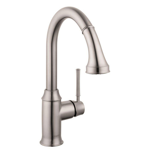 HansGrohe Talis C Single-Handle Pull-Down Sprayer Kitchen Faucet in Steel Optik with Magnetic Spray Head Docking 547780
