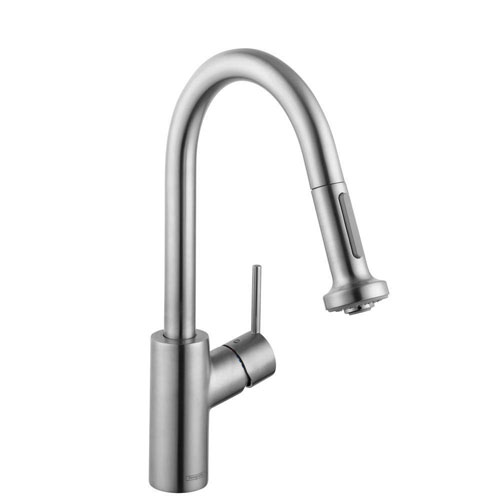 HansGrohe Talis S2 Prep Single-Handle Pull-Down Sprayer Kitchen Faucet in Steel Optik 547783