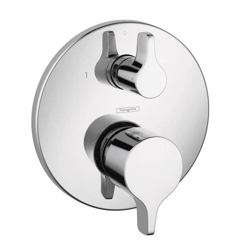 HansGrohe Metris S/E 2-Handle Pressure Balance Valve Trim Kit with Diverter in Chrome (Valve Not Included) 575406