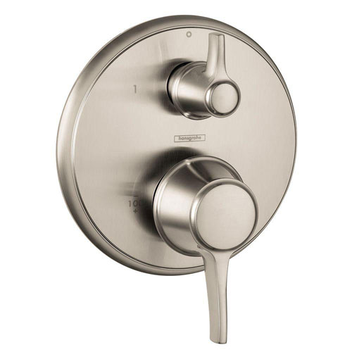 HansGrohe Metris C 2-Handle Pressure Balance Valve Trim Kit with Diverter in Brushed Nickel (Valve Not Included) 575410