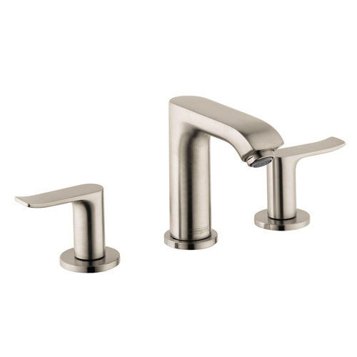 HansGrohe Metris 8 inch Widespread 2-Handle Low-Arc Bathroom Faucet in Brushed Nickel 575536