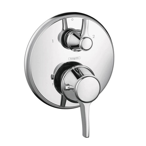 HansGrohe Metris C 2-Handle Thermostatic Valve Trim Kit with Volume Control in Chrome (Valve Not Included) 575676