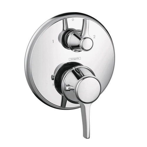 HansGrohe Metris C 2-Handle Thermostatic Valve Trim Kit with Volume Control and Diverter in Chrome (Valve Not Included) 575678