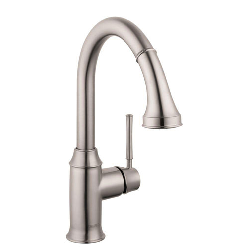 HansGrohe Talis C Prep Single-Handle Kitchen Faucet in Steel Optik with Magnetic Spray Head Docking 576648