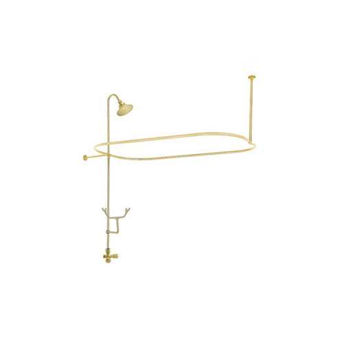 Polished Brass Clawfoot Tub Shower Conversion Kit with Enclosure Curtain Rod 10010PB