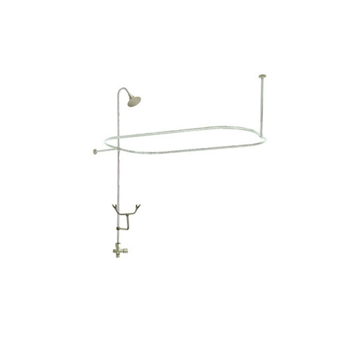 Satin Nickel Clawfoot Tub Shower Conversion Kit with Enclosure Curtain Rod 10010SN