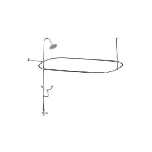 Chrome Clawfoot Tub Shower Conversion Kit with Enclosure Curtain ...